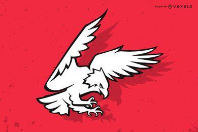 Ilustración de contorno de águila atacante