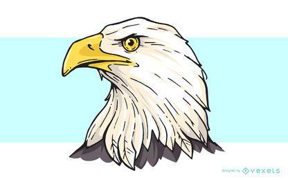Desenhos animados de cabeça de águia careca