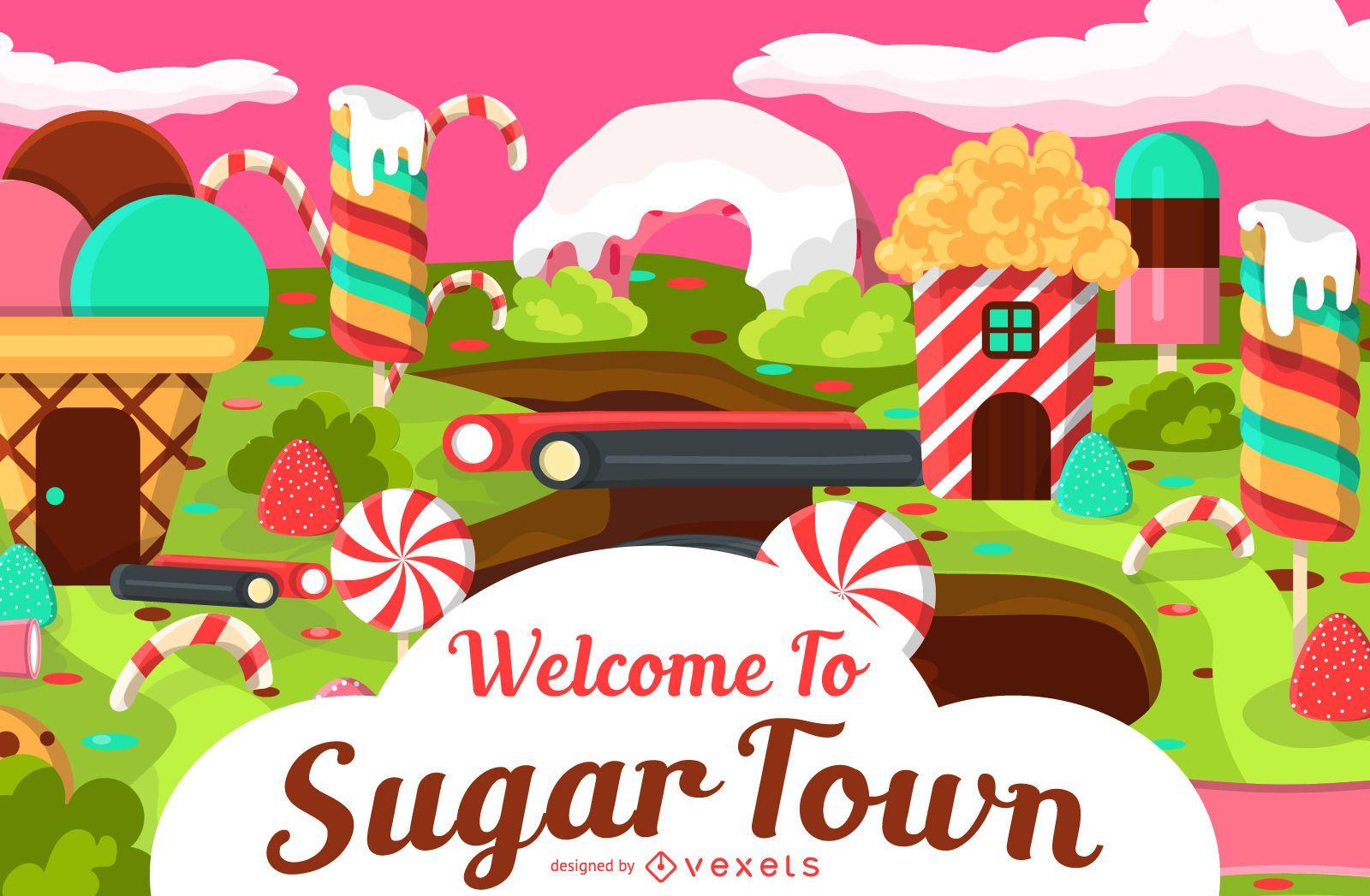 Sugar town candy illustration