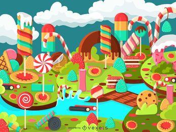 Ilustración de paisaje de caramelo