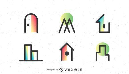 Conjunto de logotipo de bienes raíces