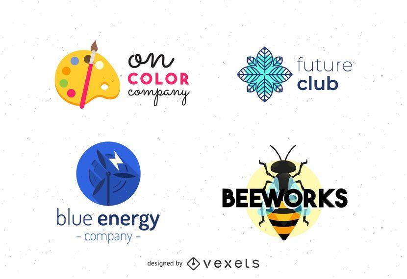 Conjunto de quatro logotipos diversos