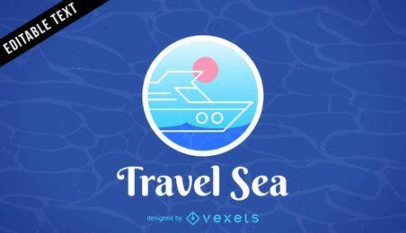 Reisen Sie Meer Logo Vorlage