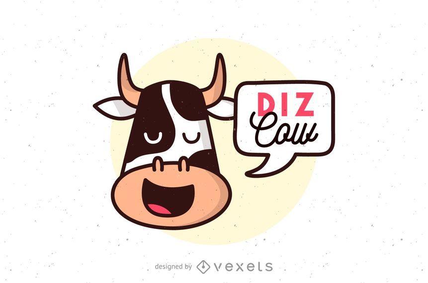 Modelo de logotipo de vaca Diz