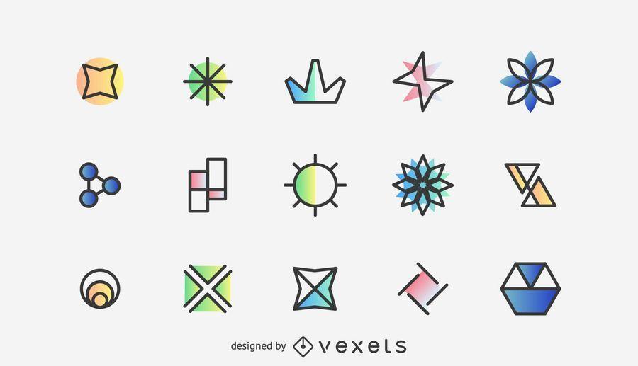 Coleção simples de elementos de logotipo
