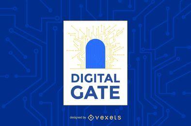 Modelo de logotipo de portão digital