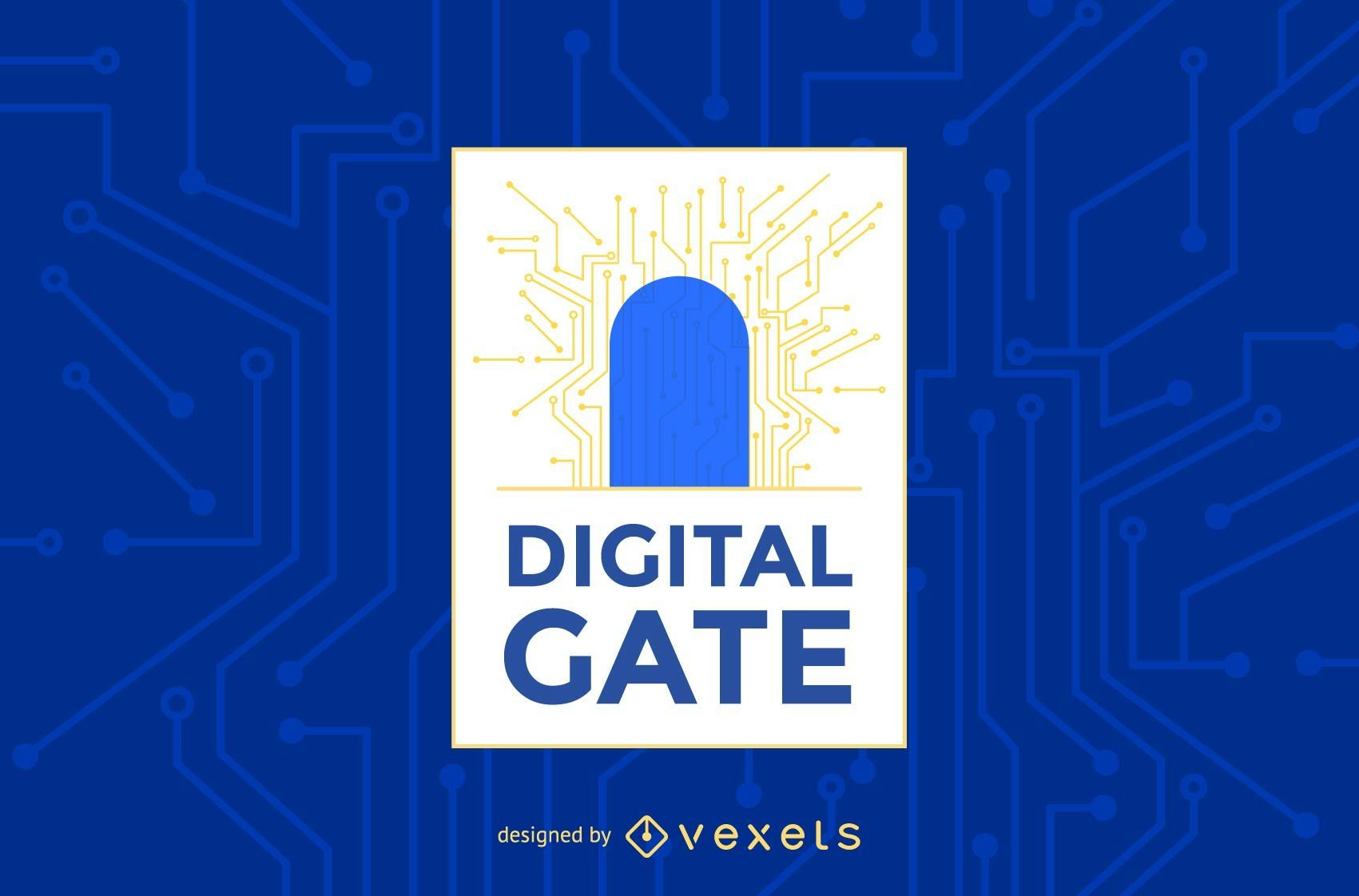 Digital gate logo template