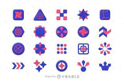 Conjunto de modelo abstrato logotipo azul e rosa