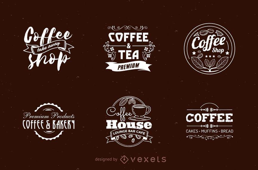 Conjunto de logotipo de loja de café
