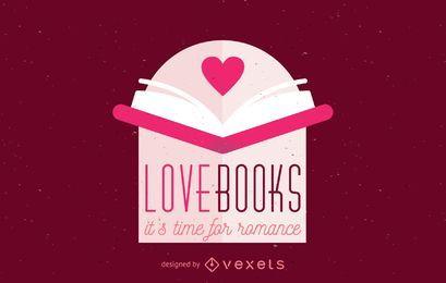 Plantilla de logotipo de libro abierto de amor