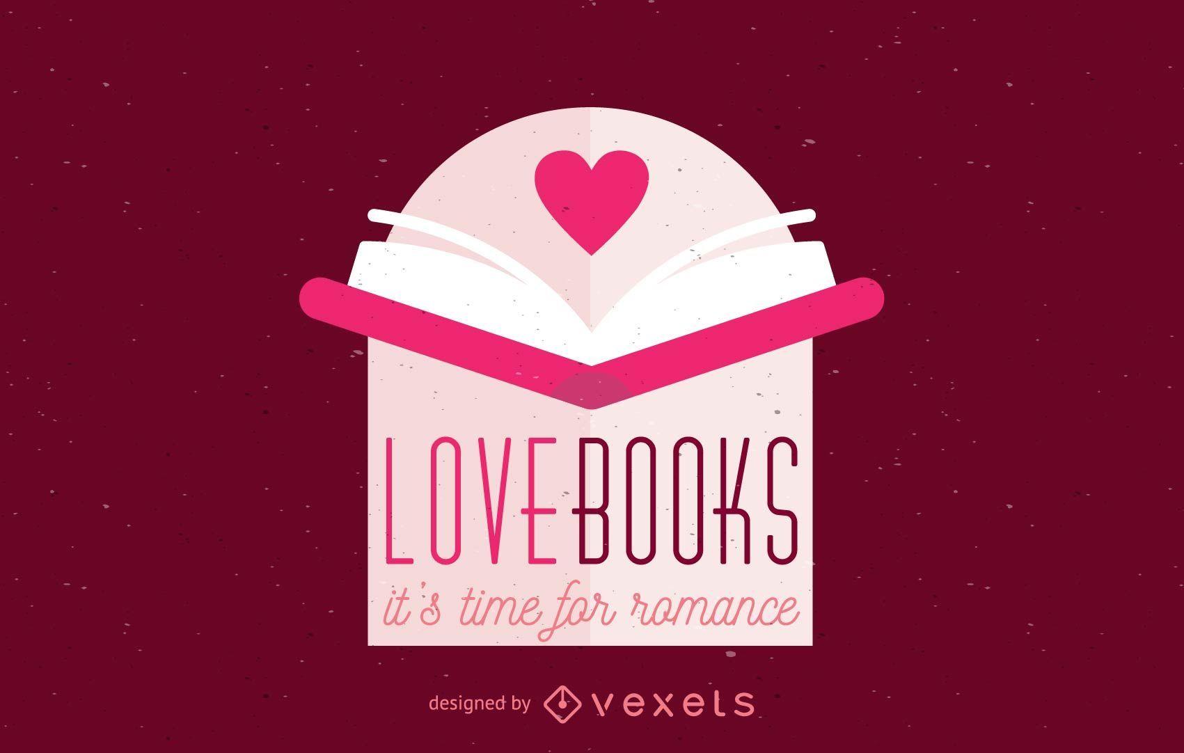 Modelo de logotipo de livro aberto de amor