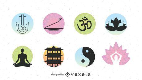 Conjunto de logotipo asiático spa