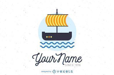 Modelo de logotipo de barco à vela