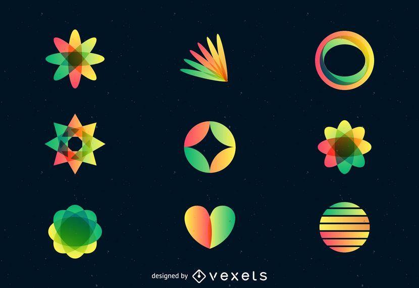 Conjunto de logotipo colorido