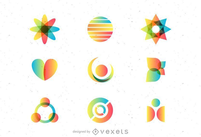Conjunto de logotipos do arco-íris