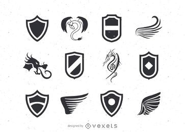Shield and wings logo templates