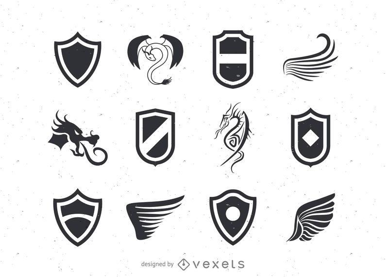 Modelos de logotipo de escudo e asas