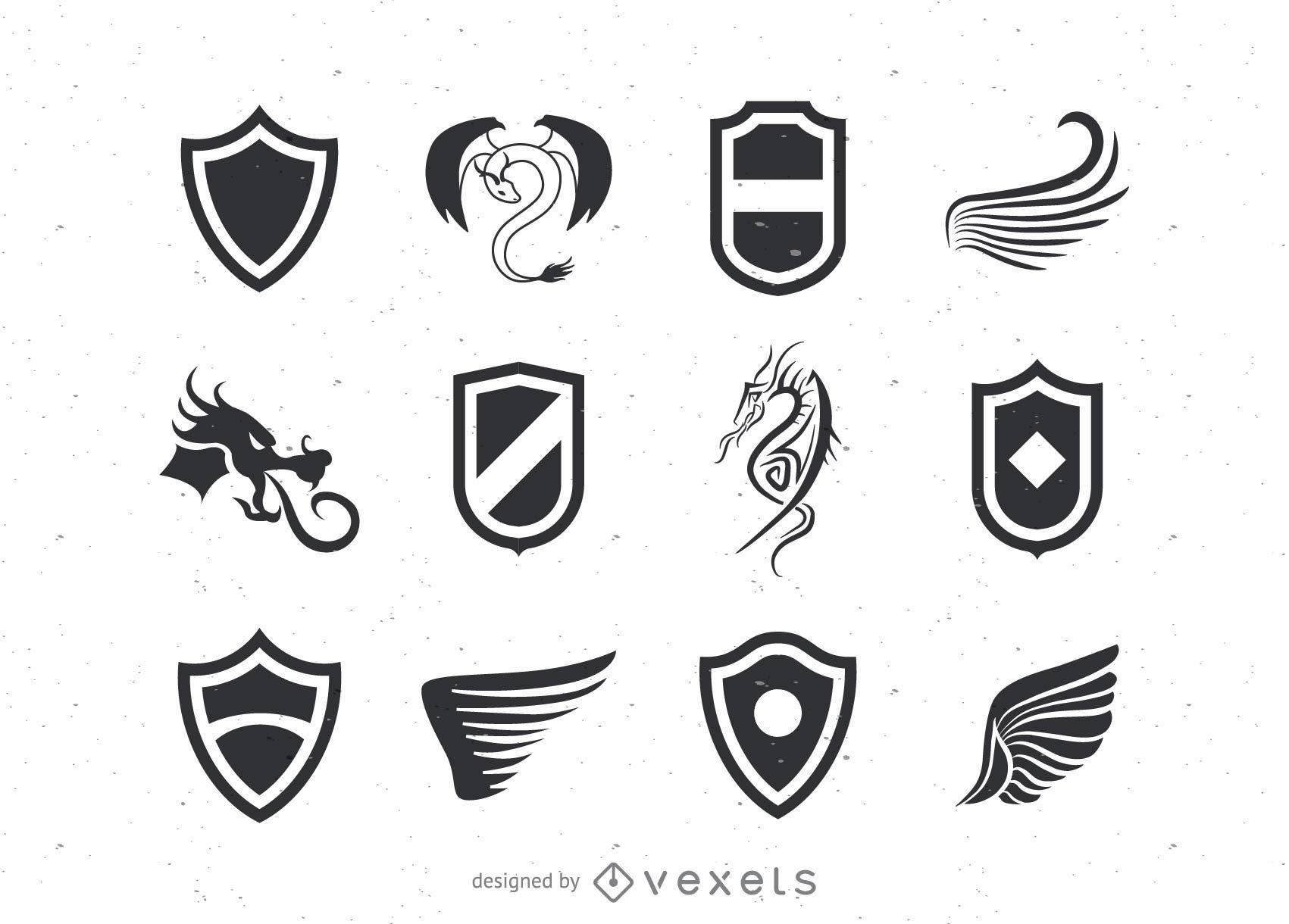 Pack de logotipos de escudo y alas