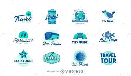 Coleção de logo pack de viagem