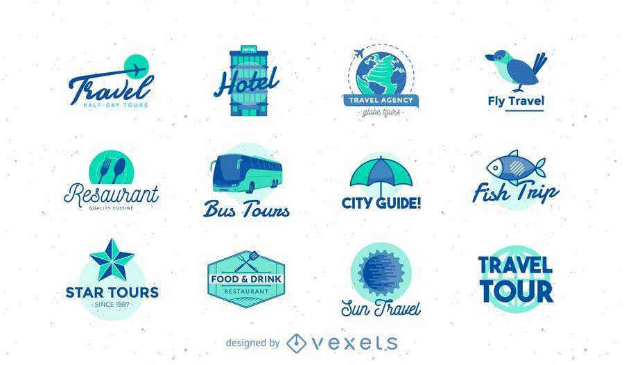 Colección de paquetes de logos de viaje