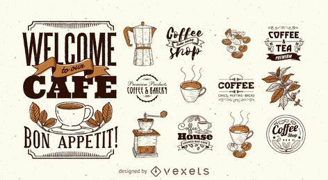 Kaffee Logo Vorlagensatz