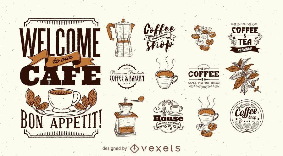 Conjunto de modelo de logotipo de café