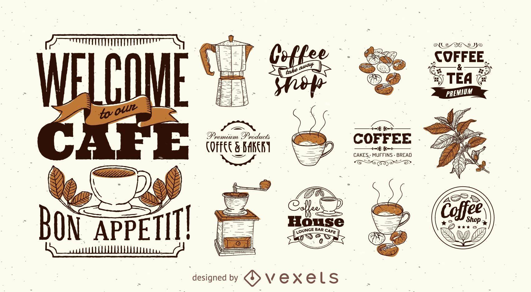 Kaffee-Logo-Schablonensatz