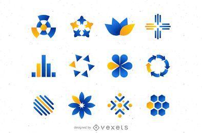 Conjunto de logotipo laranja azul