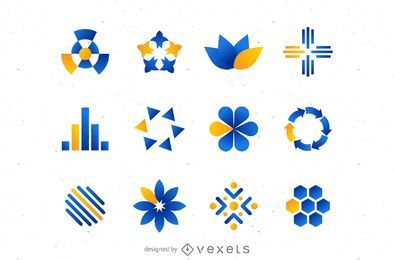 Conjunto de logotipo naranja azul