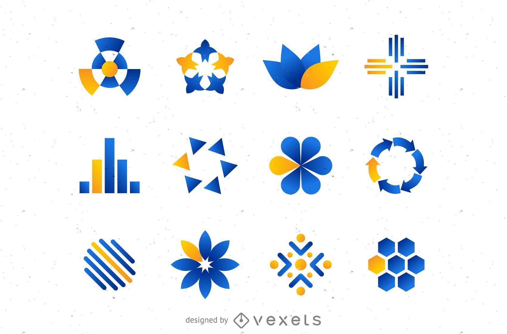 Blue orange logo set