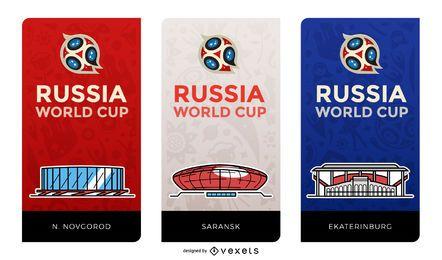 Banners do estádio da Copa do mundo de Rússia