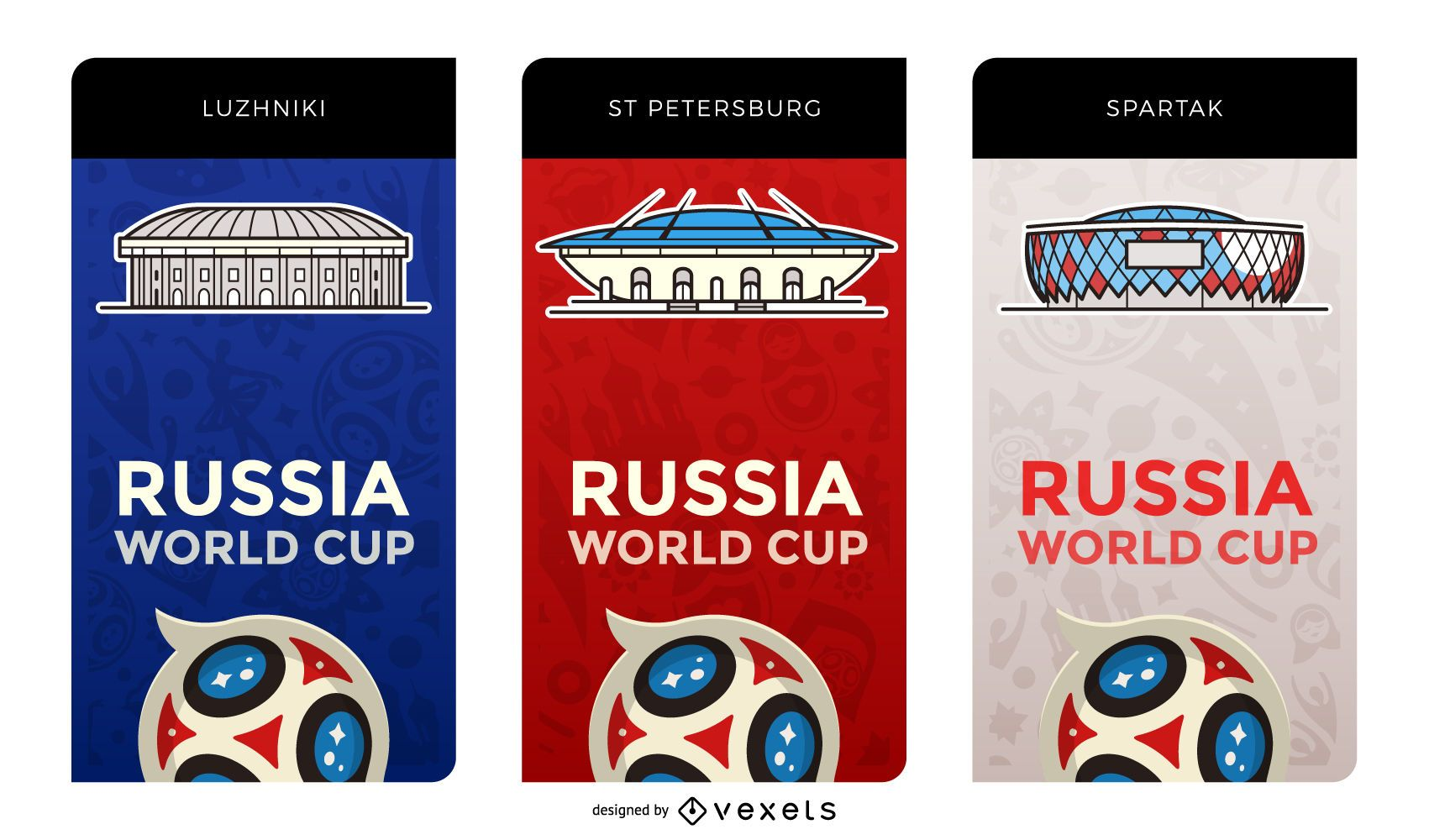 World Cup 2018 stadiums banners
