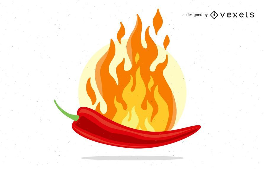 Flaming red chili pepper illustration