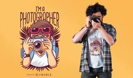 Design de t-shirt dos desenhos animados de fotógrafo
