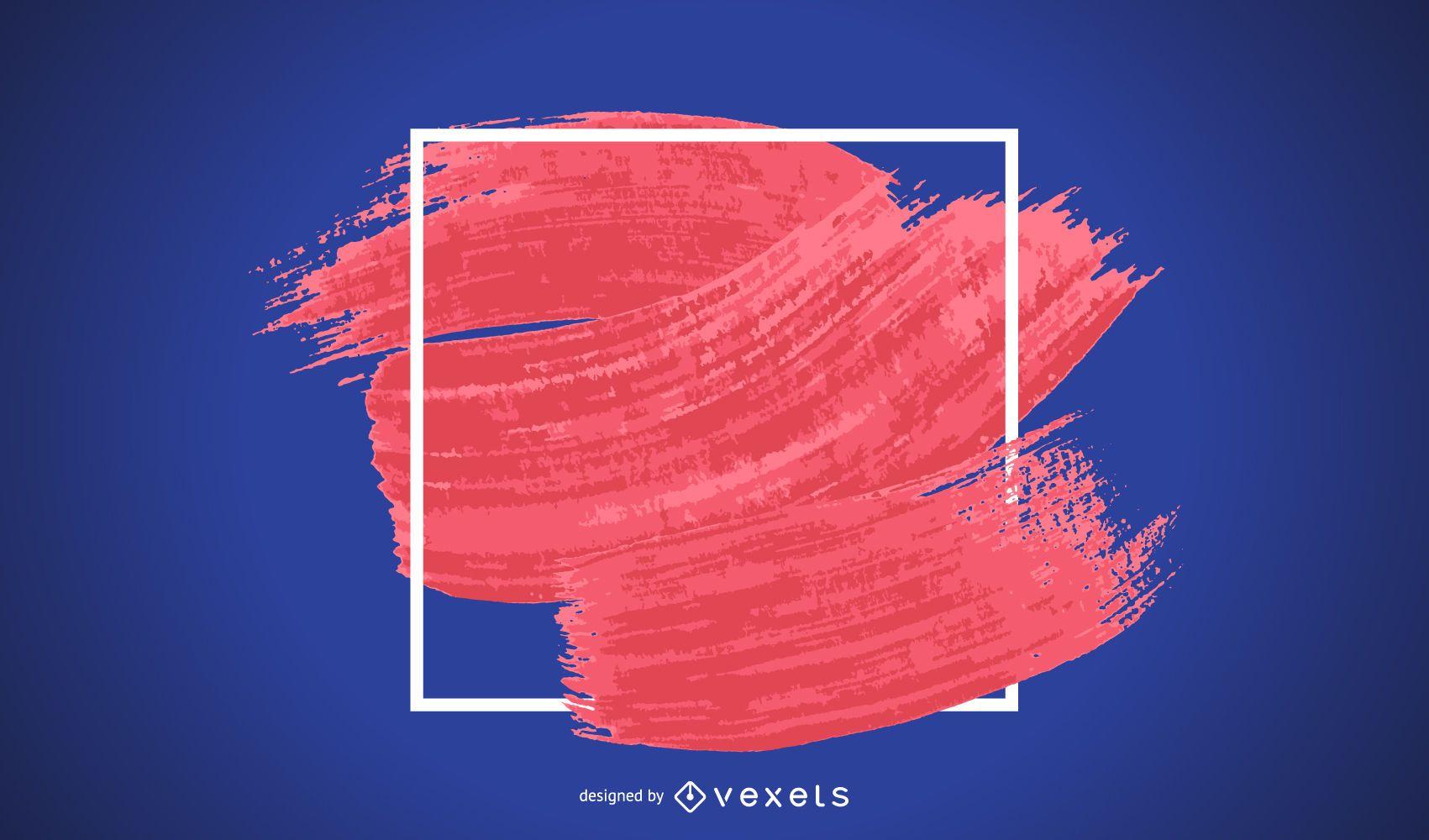 Ilustración de marco de trazo de pincel rojo