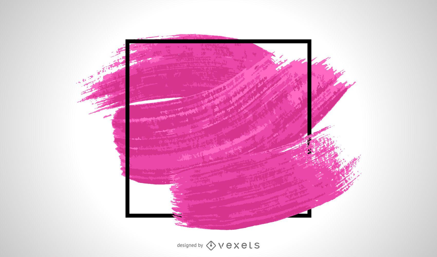Trazo de pincel violeta en marco