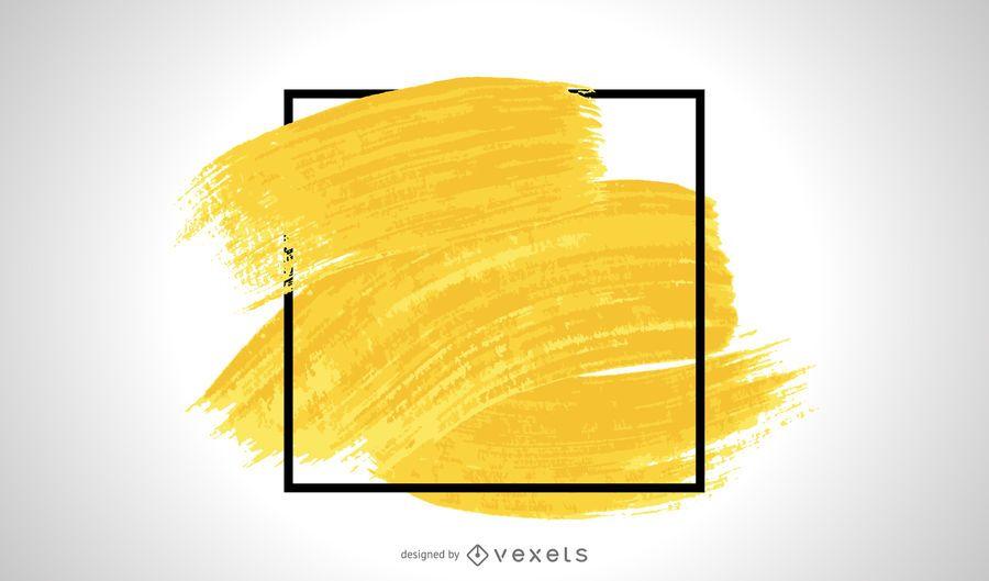 Gelber Pinselstrichrahmen