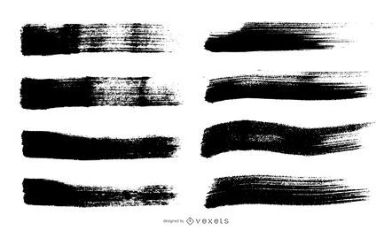 Isolated brush stroke set