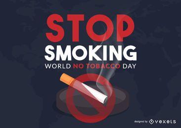 Mundo, não, tabaco, dia, ilustração, desenho