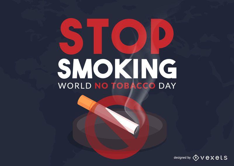 Mundo sin diseño ilustración del día del tabaco