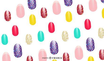 Patrón de uñas pintadas