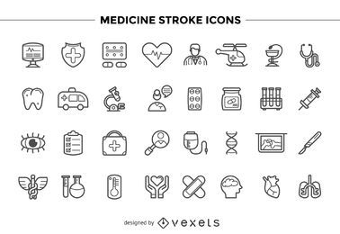 Medicine stroke icons set