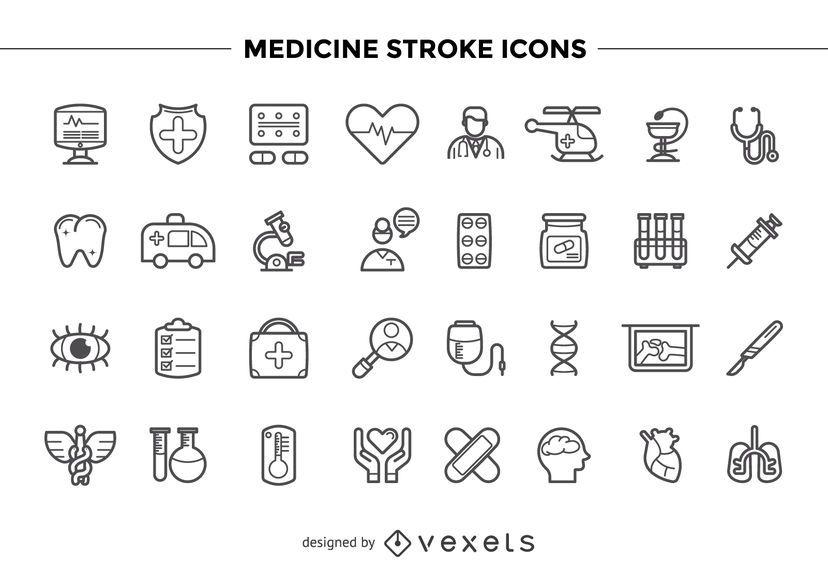 Conjunto de ícones de traçado de medicina