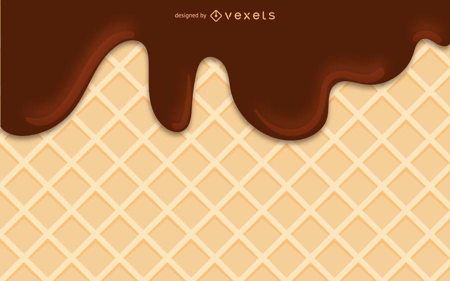 Ice cream flowing illustration