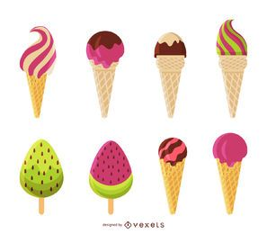 Flat ice cream illustration set