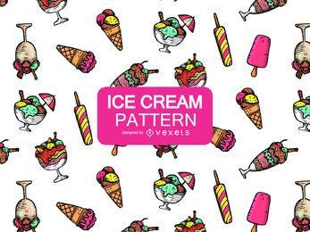 Patrón de helado de dibujos animados