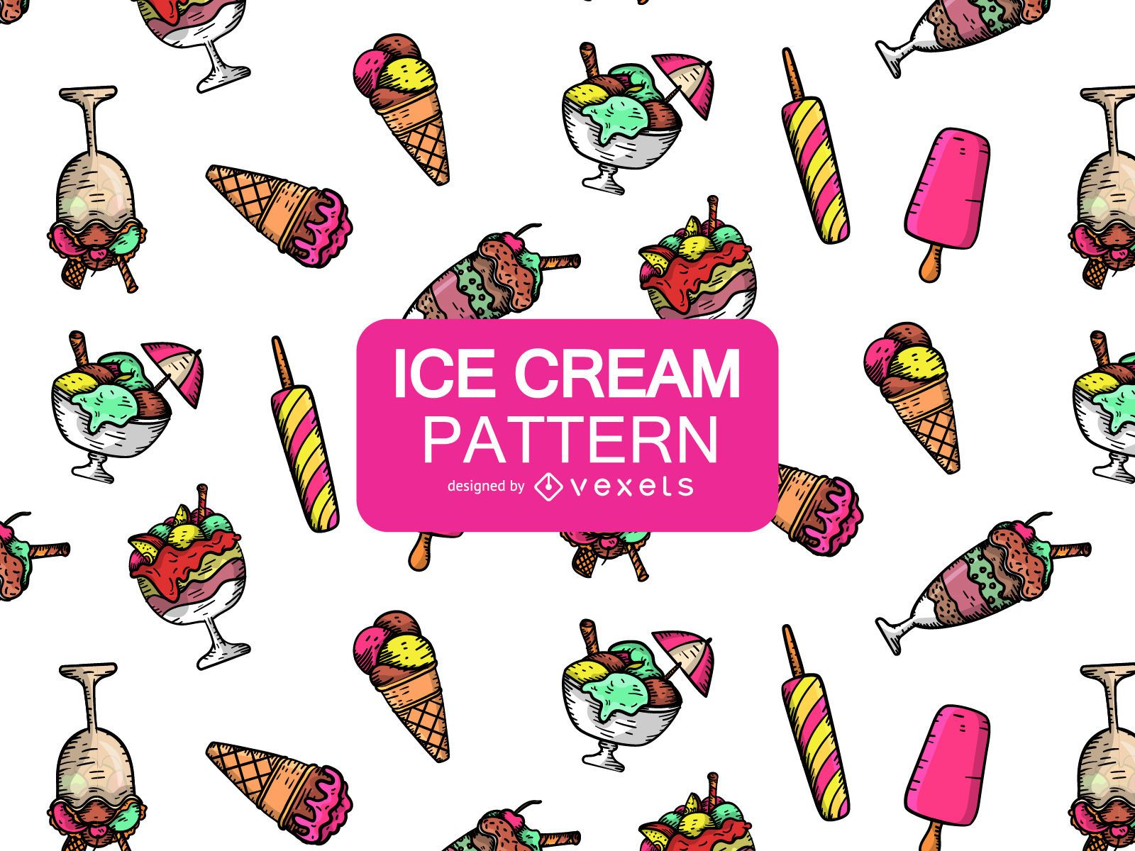 Cartoon ice cream pattern