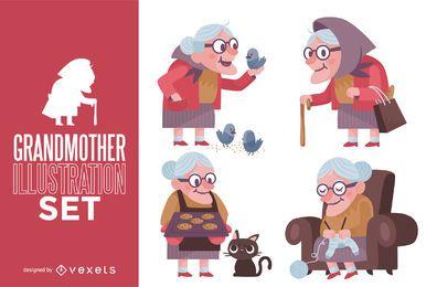 Conjunto de ilustração de avó