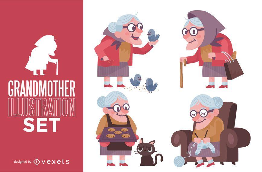 Conjunto de ilustración de abuela