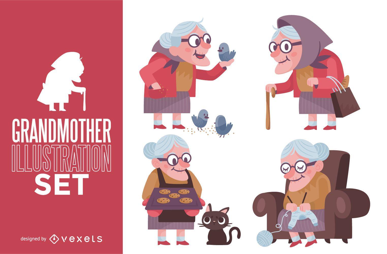 Conjunto de ilustração da avó